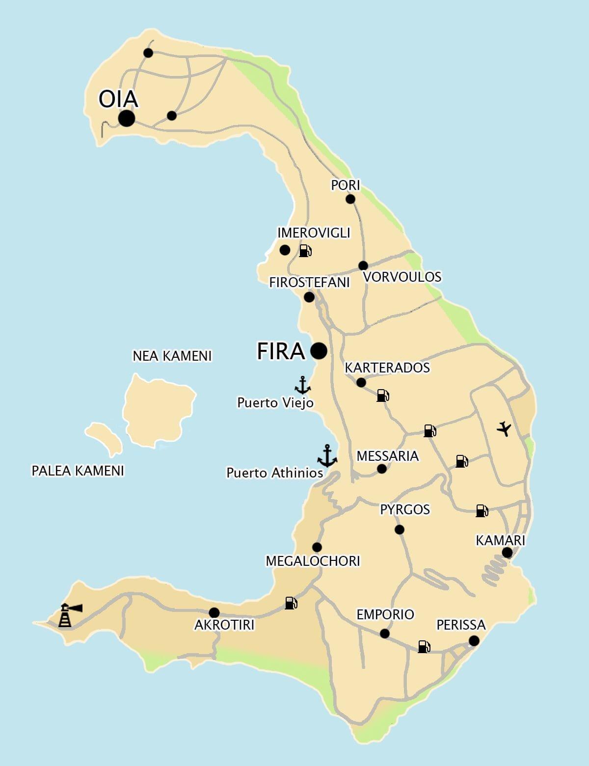 Mapa De Santorini 2019 Playas Pueblos Y Lugares De Interes