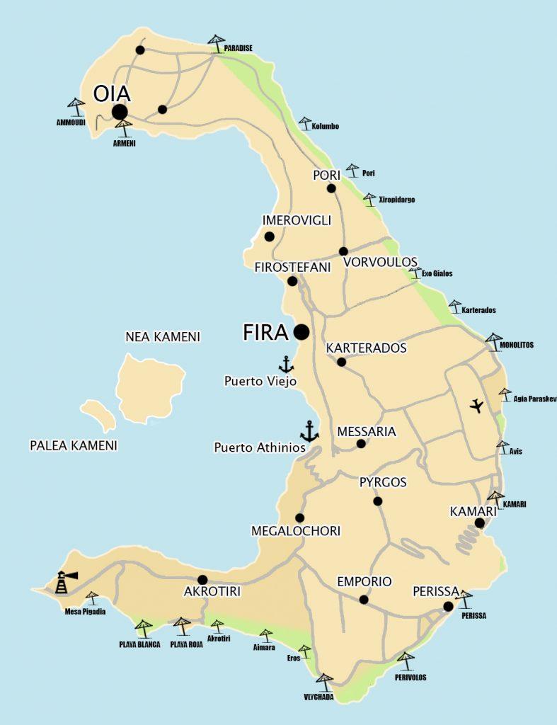 Mapa playas santorini